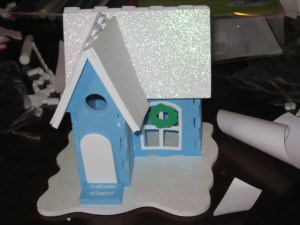 Craft foam gingerbread house for snowmen
