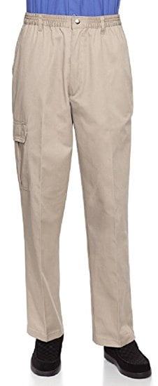 Full elastic waist khaki pants helpful for elderly men