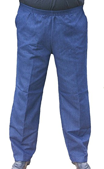 Mens full elastic waist jeans pants big help for senior dad