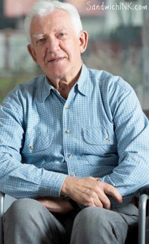 Senior men full elastic waist slacks make dealing with dementia Parkinsons wheelchair easier