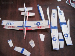 We ended up with two useable balsa wood gliders