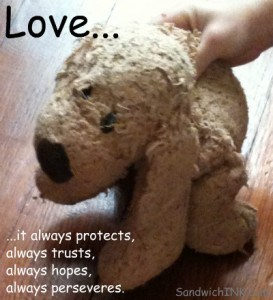 Beloved stuffed animals are a picture of Love never fails