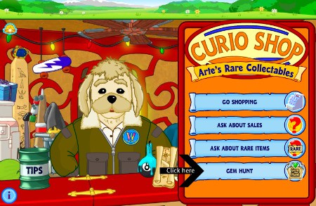 Click on Gem Hunt to find a gem to sell for Webkinz money