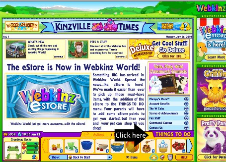 Click on things to do for fun ways to earn Webkinz money for your Webkinz virtual stuffed animals
