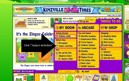 Click on todays activities for ways to earn Webkinz money and play with various virtual Webkinz stuffed animals