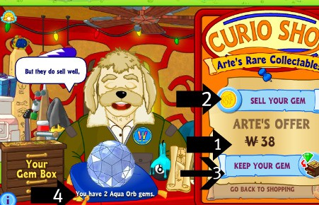 I recommend selling the gems to earn Webkinz money for the virtual stuffed animals of you or your grandkids