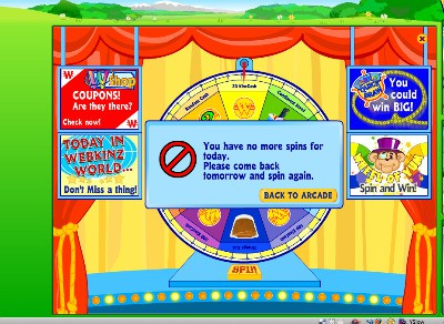 Spin the Webkinz wheel to try to earn Webkinz money - it will tell you when you are done