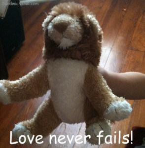 This Webkinz Lion - like Aslan from the Narnia series - reminds us Love never fails