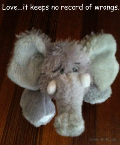 Webkinz plush stuffed elephant can remind us that Love keeps no record of wrongs