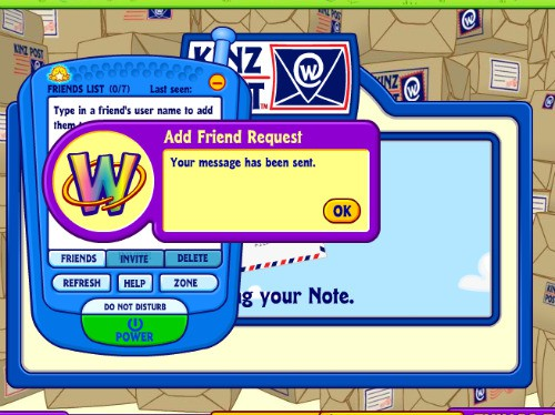 This lets you know your request message was sent to your grandchild - soon you will not only be playing games with their Webkinz stuffed animals but also with the Webkinz virtual animals