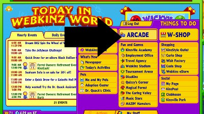 To enjoy teaching a child to read activities for grandparents and their grandchildren on Webkinz, start by clicking on Arcade