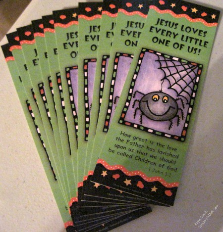 Encouraging Bible Verses for children and grandchildren on bookmarks and cards are great for trick or treaters