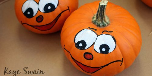 Paint halloween pumpkin crafts kids