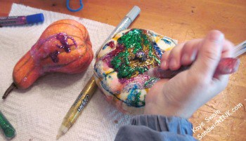 The washable glitter glue was quite the hit for these activities for grandparents and their grandchildren