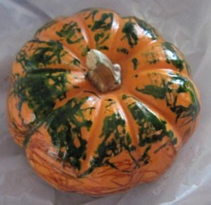 This granny nanny loves the vivid colors on a grand-twin Autumn pumpkin