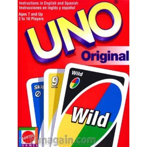 Uno playing cards feature large numbers and pictures just like on extra large plastic playing cards - great for aging eye changes