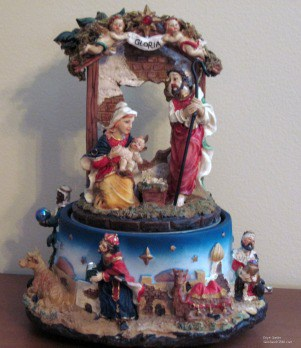 My grandchildren love to play this Nativity figurine music box