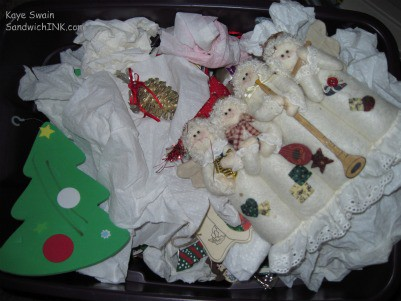 The cute handmade - storebought - and inherited Christmas tree ornaments and decorations are sitting around the spare room in boxes - waiting for the grandkids to come help great-grandma and grandma