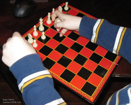 So glad I had the foresight to buy chess and checkers sets for activities for grandparents and their grandchildren which continue to be fun for this Sandwich Generation granny nanny and her grandkids as the weather keeps us inside