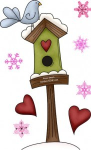 My senior mom has set aside her gardening for feeding her sweet Kentucky birds - dont you love the cute pink snowflakes and bird house clipart