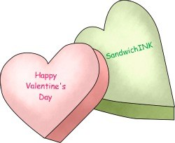 Sweet Happy Holidays Valentines Day hearts clip art for the Sandwich Generation along with a free cooking ebooks offer from din