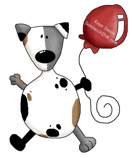 Love this cute country dog and red balloon clip art