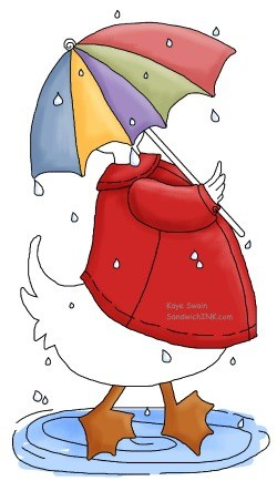 This Sandwich Generation granny nanny thinks there is so much rain I need to be like this duck and umbrella clipart this year