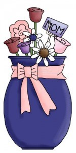 If your senior mom loves gardening - she might enjoy a lovely bouquet of flowers in a pot or in a vase - like this cute happy holidays mothers day clip art reminds us