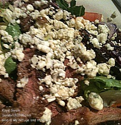The Sandwich Generation granny nanny LOVES steak and blue cheese on a healthy and delicious salad