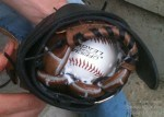 Notice you can see the shaving cream inside along with the ball as they were breaking in a baseball glove