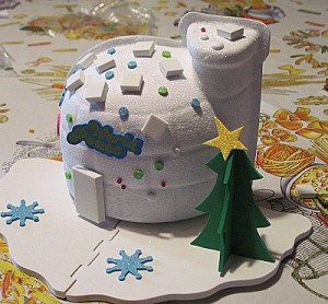 As you can see from this photo from my easy to use digital camera - the star might be crooked but we do have a cute Christmas tree for the blog for this happy holiday White Christmas in July party blog post