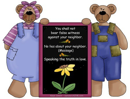 The 9th of the 10 commandments for kids clip art teaches us to not lie - but rather speak the truth in love
