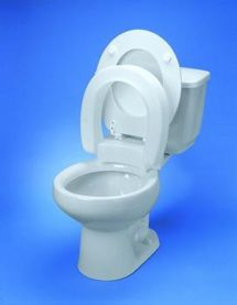 This Elongated Hinged Elevated Toilet Seat with a Unique hinged seat for elongated toilets is very helpful for those dealing with painful arthritis in the hip.