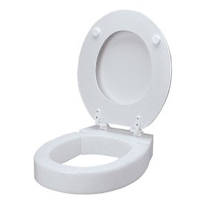 Hinged elevated toilet seat riser that works well for the whole Sandwich Generation family including the men and boys