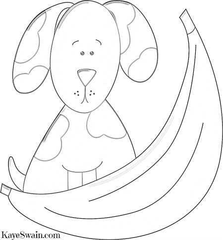 Another of my doggy coloring pages hiding behind banana via Sacramento and Placer County REALTOR Kaye Swain