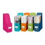 Colorful magazine organizers including these pink and blue things are a big help to the crowded Sandwich Generation