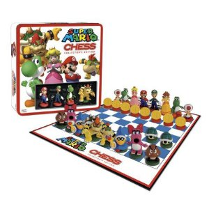 Fun and critical thinking activities for the Sandwich Generation grandparents and their grandchildren like the Super Mario Brothers games including their chess set are great gift ideas