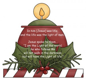 Jesus is the light of the world for all of us - in AND out of the Sandwich Generation as this cute country Christmas candle clipart proclaims