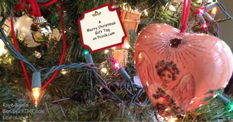 I loved capturing these personalized and unique Christmas tree ornaments with my easy to use digital camera - they seem new to me but vintage to my grandkids since the bell is over 20 years old - gift tag in Picnik special effects