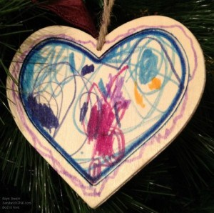 Of course - the Sandwich Generation granny nanny is partial to these unique and personalized Christmas tree ornaments handmade by my grandchildren and photographed with my easy to use digital camera