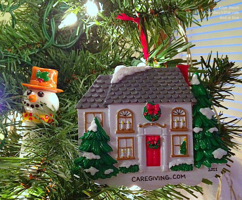 The Sandwich Generation granny nanny loves this personalized Christmas tree ornament from the caregiving blog party photographed with my easy to use digital camera