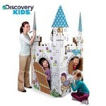 This discovery eco friendly cardboard playhouse to color is similar to my grand kids cardboard play house coloring castle other than the roof and they love it
