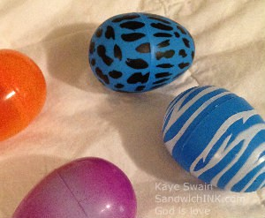Four choices of Easter Resurrection plastic eggs for the three grandchildren and they all picked a different one - yay