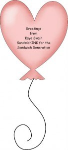 Greetings to the Ultimate Blog Party AND Happy Pink Saturday from Kaye Swain and SandwichINK for the Sandwich Generation