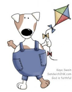 My granddog loves that I can turn cute kite and dog clipart like this into coloring pages for the Sandwich Generation with iPiccy