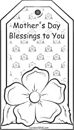 A lovely Mothers Day greetings bookmark for our grandkids in our Sandwich Generation family to color from SandwichINK