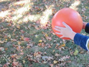 Fun Autumn Activities for grandparents and their grandchildren can include plastic balls and tag copy