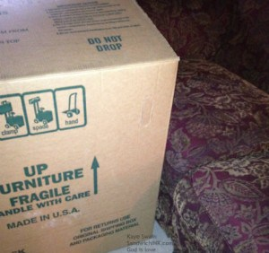 Two huge boxes plus three excited grandchildren equals a happy Sandwich Generation granny nanny