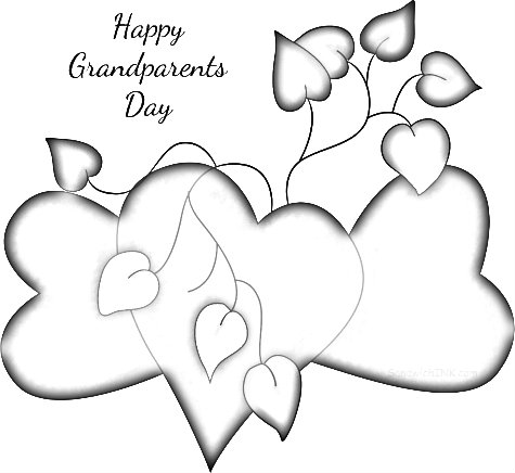 Happy Grandparents Day - we love you very much - cute coloring page clipart