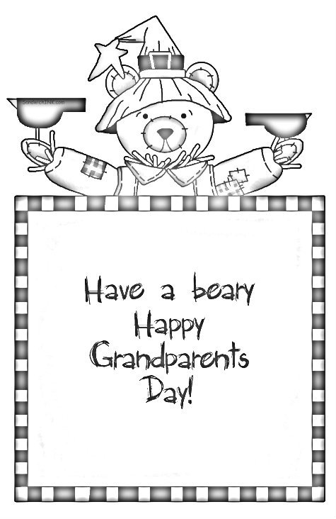 Have a beary lovely Grandparents Day - cute holiday coloring page clip art